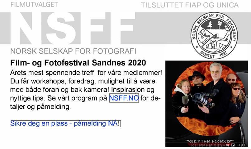 NSFF: Invitasjon til film- og fototreff i Sandnes 2020